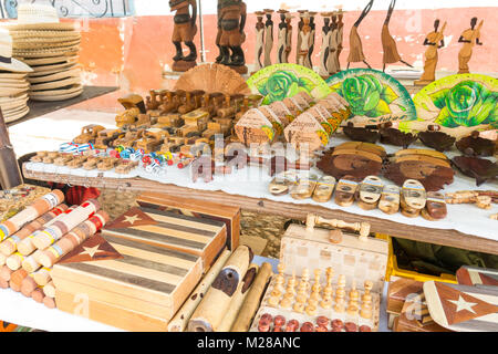 TRINIDAD, CUBA - JANUARY 4, 2017: Cuban national flags, cigars, boxes, Che Guevera portraits and other  souvenirs - Stock Photo