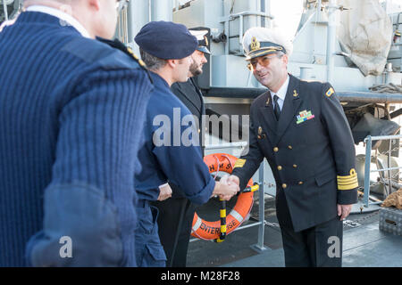 CONSTANTA, Romania, Feb 1. 2018 SNMCMG2 Commander, Justin Hains and HMS Enterprise acting Commanding Officer, Lieutenant - Stock Photo