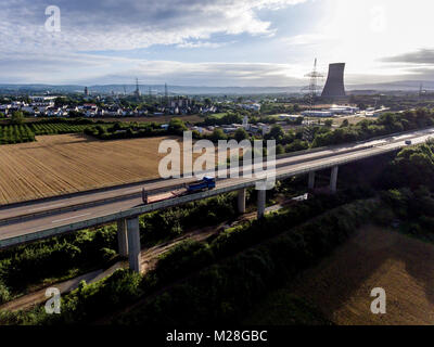 The view over bridge highway to a nuclear power plant in Germany Koblenz Andernach on a sunny day - Stock Photo