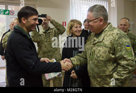 Yavoriv, Ukraine – Mark T. Esper, the United States Secretary of the Army meets with Ukrainian Lt. Gen. Pavlo Tkachuk - Stock Photo