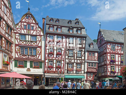 Historic center wih half-timbered houses at market square, old town of Bernkastel-Kues, Moselle river, Rhineland - Stock Photo