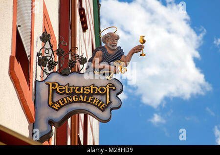 Sign of an inn, gastronomy sign of a wine tavern, old town of Bernkastel-Kues, Moselle river, Rhineland-Palatinate, - Stock Photo