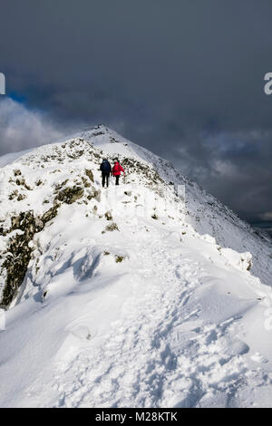 Hikers hiking up hill on south ridge at Bwlch Main to summit of Snowdon with snow in winter in Snowdonia National - Stock Photo