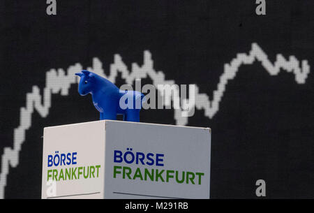 The German stock index (DAX) curve appears on a screen in the trading hall of the stock exchange inFrankfurt am - Stock Photo