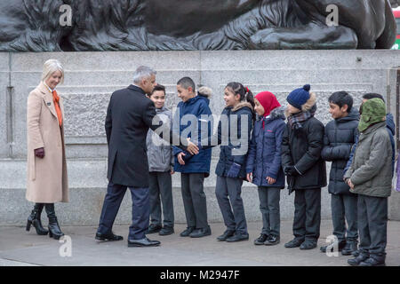 London, UK. 6th Feb, 2018. The Mayor of London hosts a symbolic exhibition in Trafalgar Square marking 100 years - Stock Photo