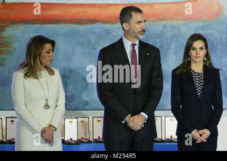 Spanish Kings Felipe VI, Letizia Ortiz and politician Susana Díaz during the delivery of Gold Medals for Merit in - Stock Photo