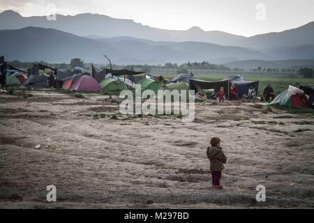 April 22, 2016 - Greece - A young boy at Idomeni refugee camp in Greece. Idomeni temporarily sprung up on the Greek - Stock Photo