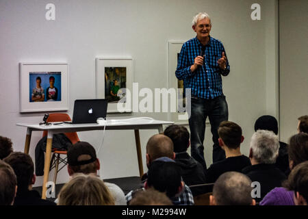 BRISTOL - FEBRUARY 06: Martin Parr is seen introducing the work of American photographer Michael Christopher Brown at the Martin Parr Foundation on February 6th 2018 in Bristol, United Kingdom. Credit: Jim Wood/Alamy Live News Stock Photo