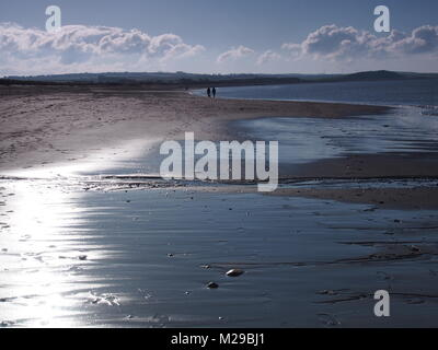 Winter Sunshine Glistening on wet sand with dog walkers in the distance, Allonby Beach, Solway Firth, Cumbria, United - Stock Photo