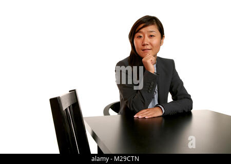 eastern woman portrait over white background - Stock Photo