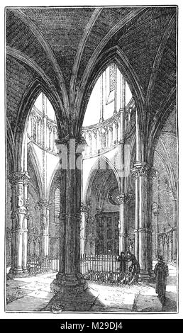 Interior of the Temple Church, a late 12th-century church in the City of London, England, located between Fleet - Stock Photo