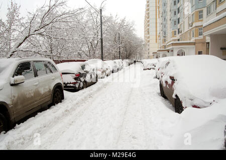 Moscow courtyard flooded with snow after snowfall February 3 2018 - Stock Photo