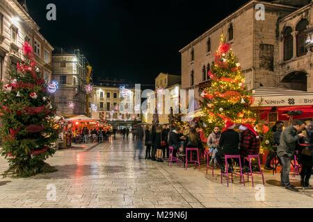 Christmas lights and decorations in Trg Narodni square, Split, Dalmatia, Croatia