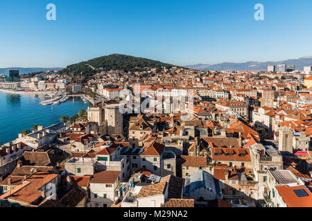 Old town skyline, Split, Dalmatia, Croatia - Stock Photo