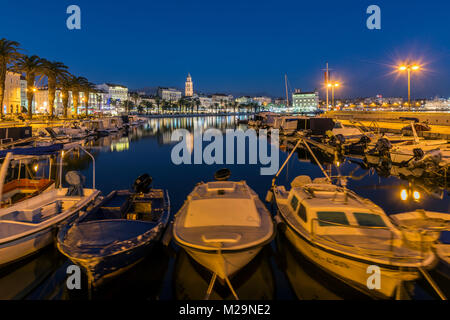 Waterfront and port with Cathedral of St. Domnius in the background, Split, Dalmatia, Croatia - Stock Photo
