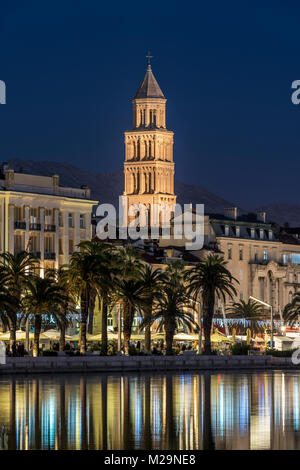 Waterfront with Cathedral of St. Domnius in the background, Split, Dalmatia, Croatia - Stock Photo