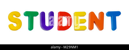 The word 'student' made up from plastic letters - Stock Photo