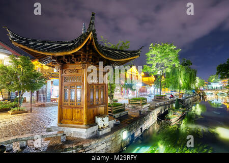 Old town of Lijiang at night. This historical center, also known as Dayan, was registered on the UNESCO World Heritage - Stock Photo