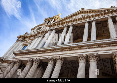 St Paul's Cathedral West Front Portico with Corinthian columns London UK - Stock Photo