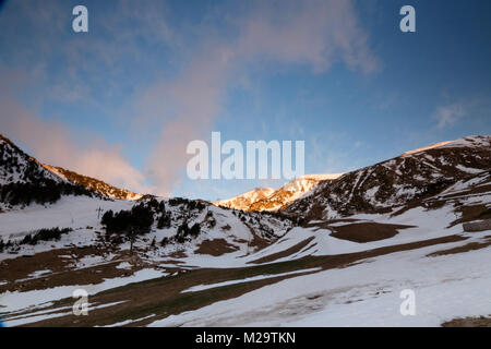 Sunrise at Vallter, in the Catalonian Pyrenees. - Stock Photo