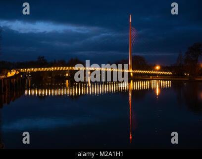 Christchurch Bridge, Nigh time, Reading, Berkshire, England - Stock Photo