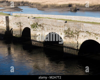 Old Redbridge East bridge, Lower Test Nature reserve, Southampton, Hampshire, England, UK - Stock Photo