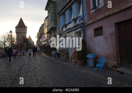 Cetatii Street in Sibiu Old Town, Romania - Stock Photo
