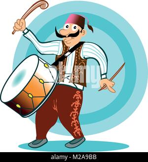 ramadan drummer with traditional clothes cartoon style illustration - Stock Photo