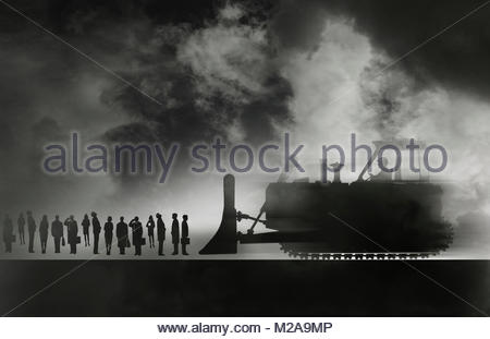 Bulldozer approaching row of business people - Stock Photo