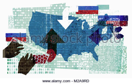 Russian cyber attack on the United States - Stock Photo