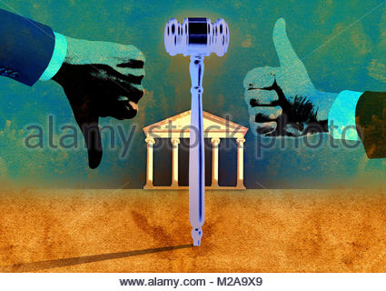 Gavel between hands making thumbs up and thumbs down signs - Stock Photo