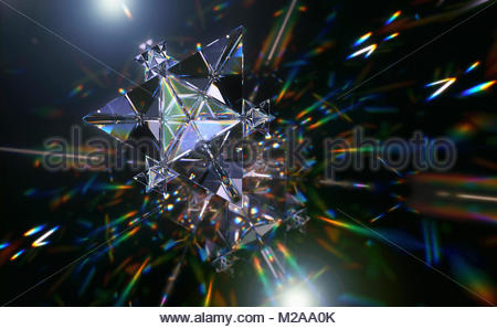 Abstract pattern of multicolored light trails and crystal triangle shapes - Stock Photo