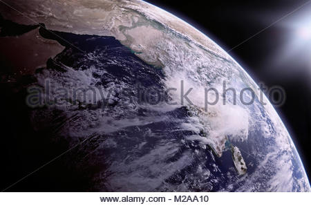 Digitally manipulated image of the Himalayas and India from space - Stock Photo