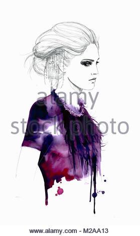 Fashion illustration of stylish woman wearing feather necklace - Stock Photo
