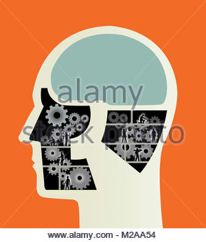 Construction workers working on cogs inside of male head - Stock Photo
