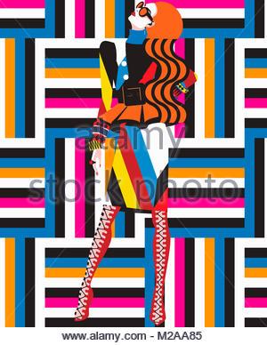 Funky fashion model in geometric pattern - Stock Photo