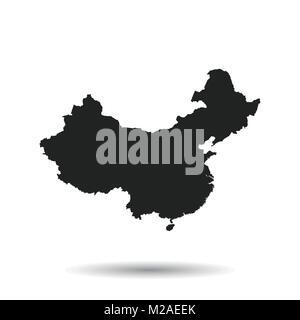 China map. Flat vector illustration on black background - Stock Photo