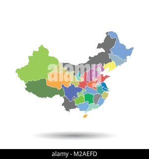 China map with province region. Flat vector illustration on isolated background - Stock Photo