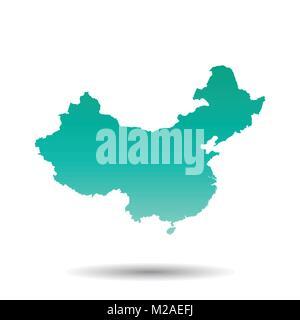 China map. Flat vector illustration on white background - Stock Photo