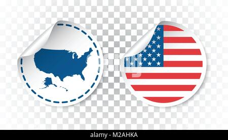 eu america flag usa sticker with flag and map america label round tag with country vector