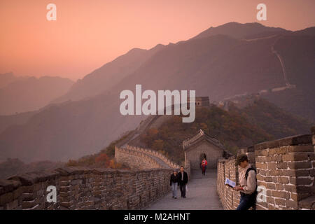 China. Mutianyu, near Beijing. The Great Wall. UNESCO World Heritage site. Tourists. - Stock Photo