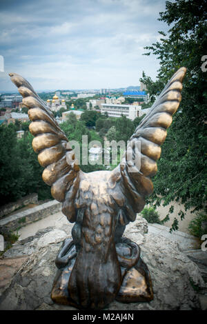 PYATIGORSK , RUSSIA - JULY 07, 2017: Sculpture of an eagle on the Hot mountain in Pyatigorsk, - Stock Photo