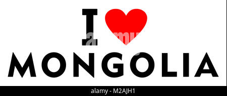 I love Mongolia country text red heart message - Stock Photo