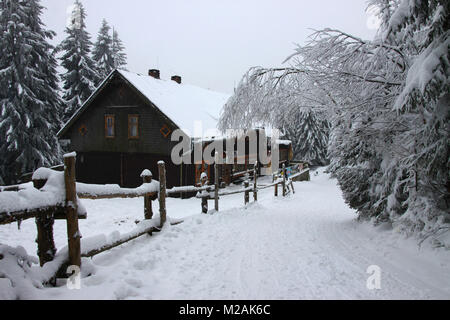 Mountain shelter 'Sowa' in Góry Sowie (Owl Mountains), Sudetes, Poland - Stock Photo