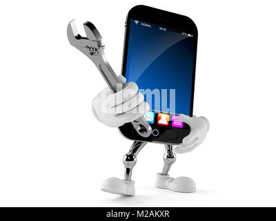Smart phone character holding adjustable wrench isolated on white background - Stock Photo