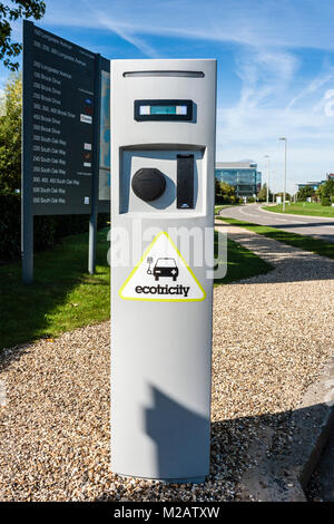Ecotricity car charging point in Reading busiiness park, Reading, Berkshire, England, GB, UK - Stock Photo