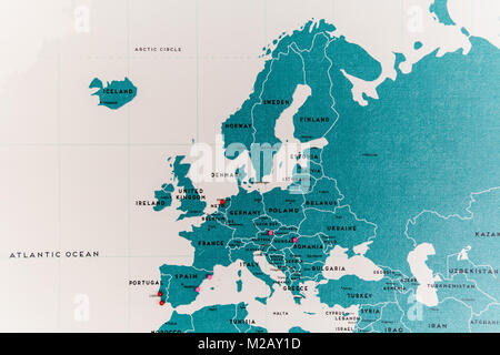 Europe Countries On World Map Close Up With Colorful Pins - Stock Photo