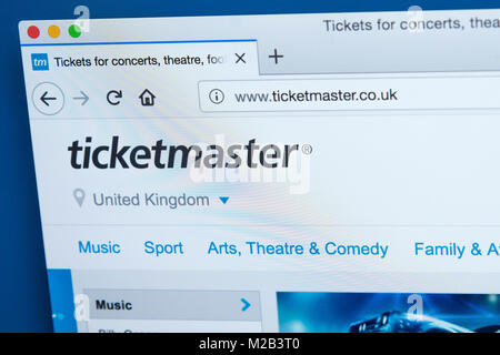 LONDON, UK - JANUARY 8TH 2018: The homepage of the official website for Ticketmaster - the American ticket sales - Stock Photo