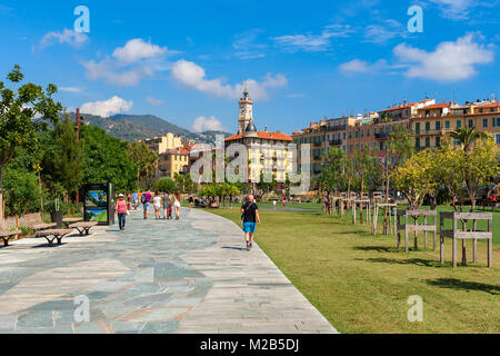 View of famous Promenade du Paillon in Nice, France. - Stock Photo