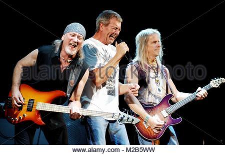 roger glover, ian gillan e steve morse, deep purple in concert, milan 2008 - Stock Photo